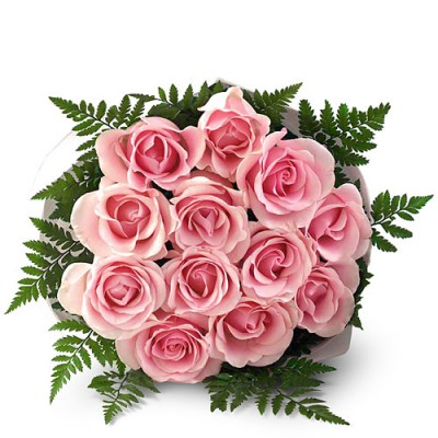 Bouquet of 12 Pink Roses to Brazil