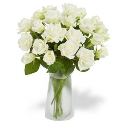 12 White Roses in Glass Vase