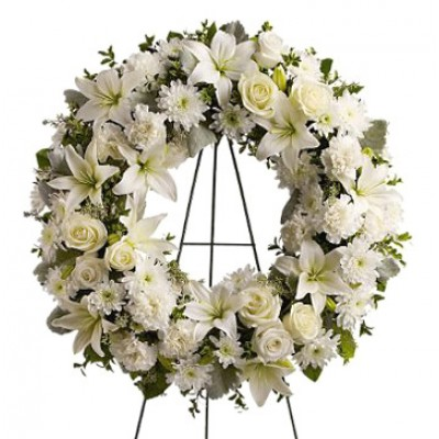 White & Luxurious Funeral Wreath