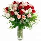 36 Mix Color Roses in Glass Vase