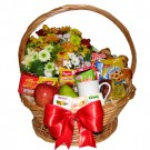 Breakfast Gift Basket with Flowers