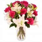 Roses and Lilies in Glass Vase
