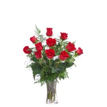 12 Roses in Glass Vase